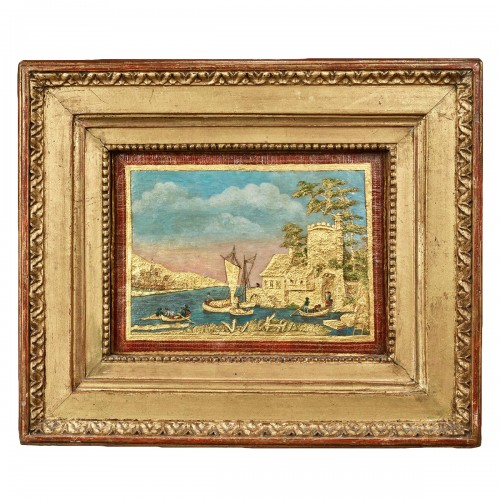 Compigné painting representing a maritime landscape animated with character