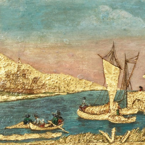 Compigné painting representing a maritime landscape animated with character - Paintings & Drawings Style