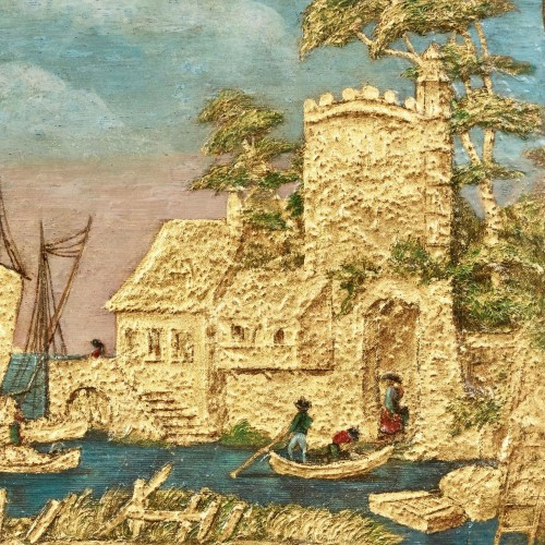Paintings & Drawings  - Compigné painting representing a maritime landscape animated with character