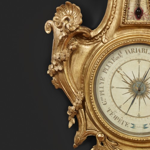 Barometer-thermometer of carved and gilt wood - Decorative Objects Style Louis XVI