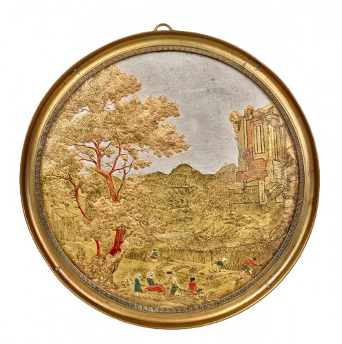 Medallion in Compigné representing a harvest scene
