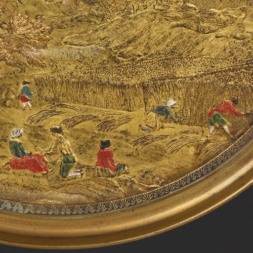 Paintings & Drawings  - Medallion in Compigné representing a harvest scene