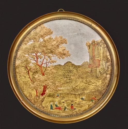 Medallion in Compigné representing a harvest scene -