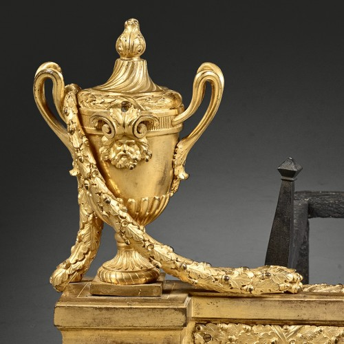 Pair of firedogs with a vase motif,  garlands and fireballs  - Decorative Objects Style Louis XVI