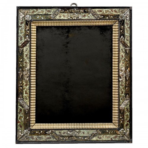 Mirror with polychromic foliage motif  in eglomised glass