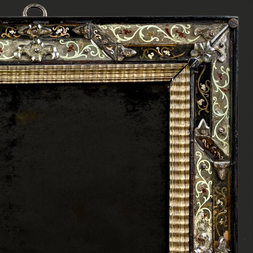 Mirror with polychromic foliage motif  in eglomised glass - Mirrors, Trumeau Style