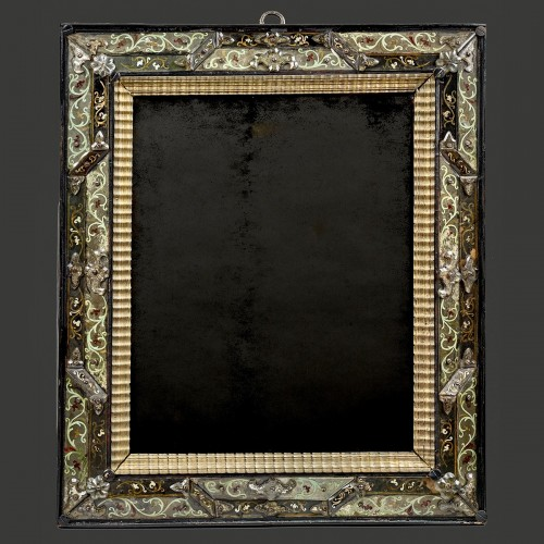 Mirrors, Trumeau  - Mirror with polychromic foliage motif  in eglomised glass