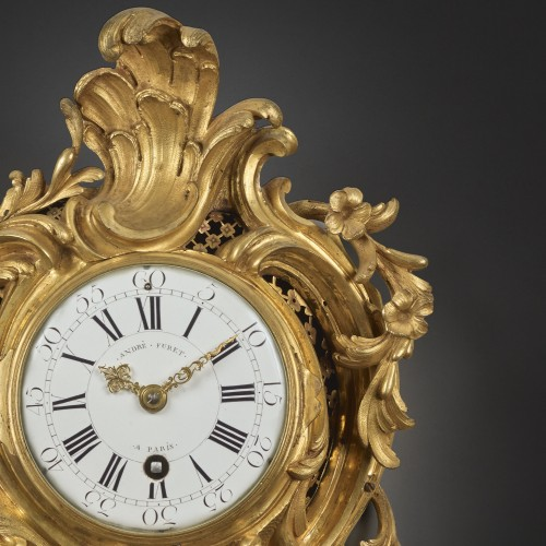 An alcove cartel clock in chased and gilt bronze - Horology Style Louis XV