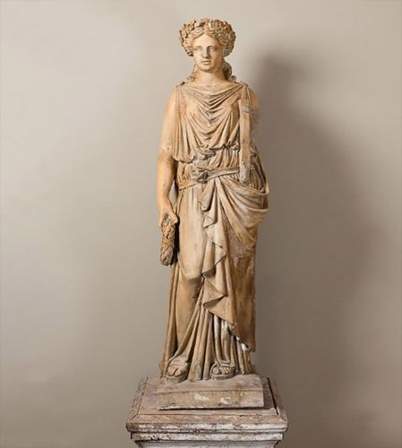 Terracotta statue of a draped woman signed  BRAULT