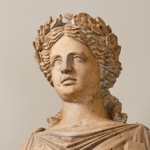 Terracotta statue of a draped woman signed  BRAULT - Sculpture Style