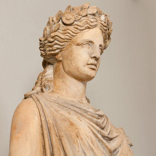 Terracotta statue of a draped woman signed  BRAULT -