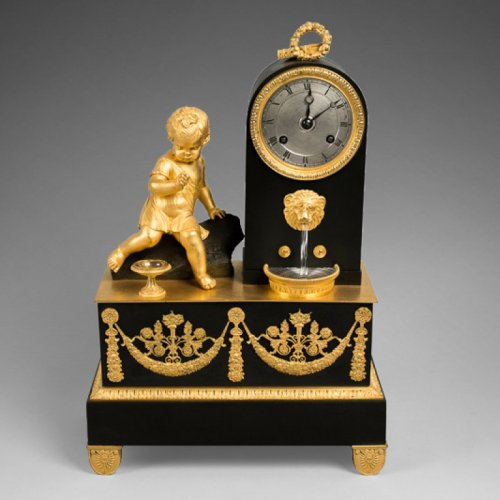 Bronze mantel clock, 19th century