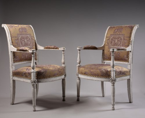 Pair of Directoire period armchair