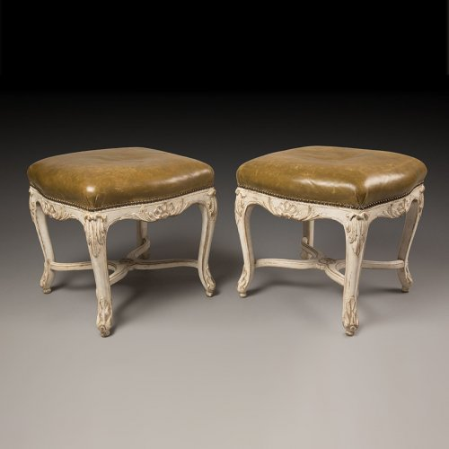 Pair of white lacquered stools