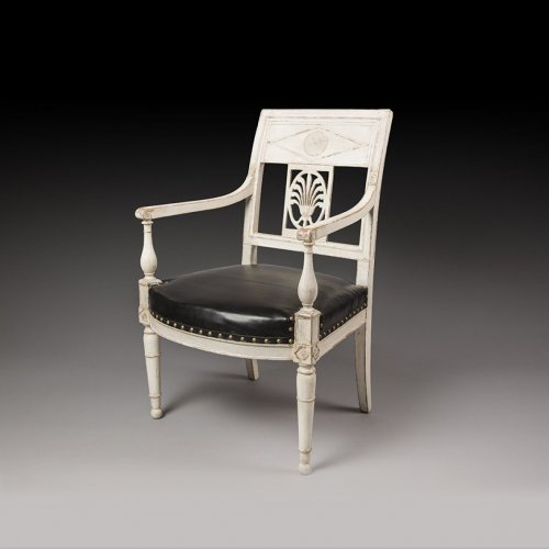French Directoire Gray lacquered armchair