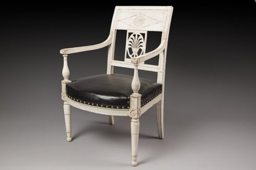 Seating  - French Directoire Gray lacquered armchair