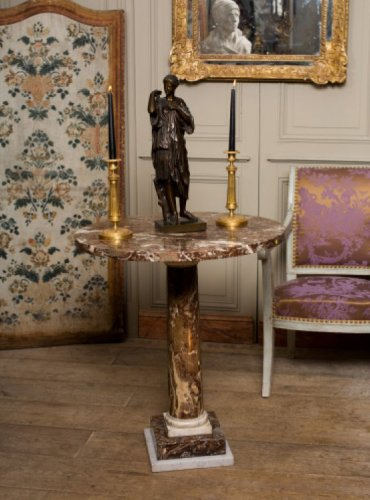 A late 18th century Red and white veined marble gueridon table