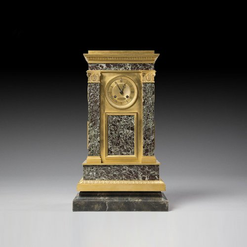 French Empire bronze and marble mantel clock