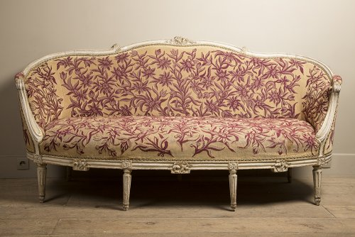 French Louis XVI sofa stamped Mathieu BAUVE