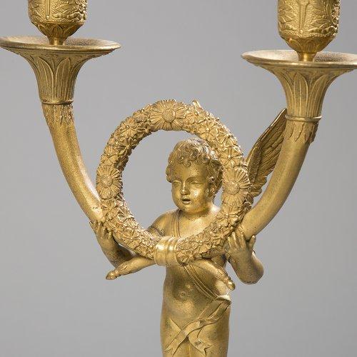 Pair of bronze candelabra - Lighting Style Empire
