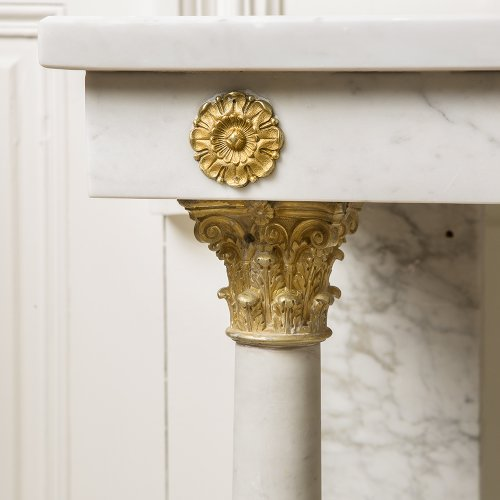 19th century white marble console table - Furniture Style Restauration - Charles X