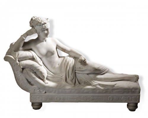 Pauline Borghese in Venus, 19th century marble