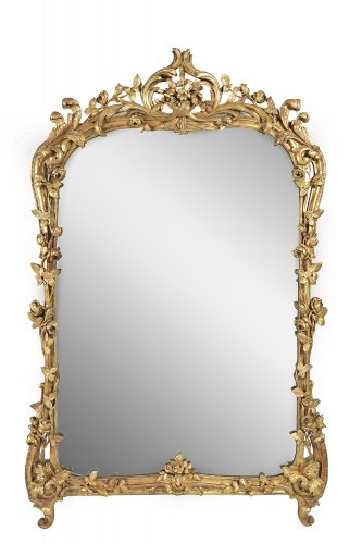 French Louis XV giltwood mirror - Mirrors, Trumeau Style Louis XV