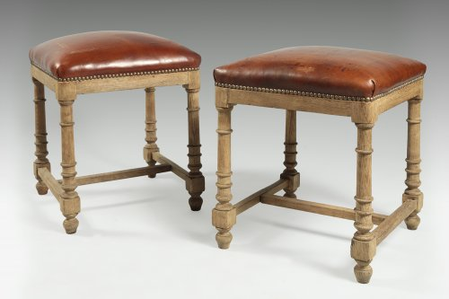 Paire of Oakwood stools, mid 19th century - Seating Style Louis-Philippe