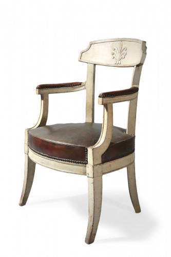 A late 18th century gray painted Fauteuil de bureau