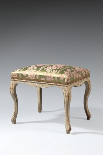 French Louis XV gray lacquered stool - Seating Style Louis XV