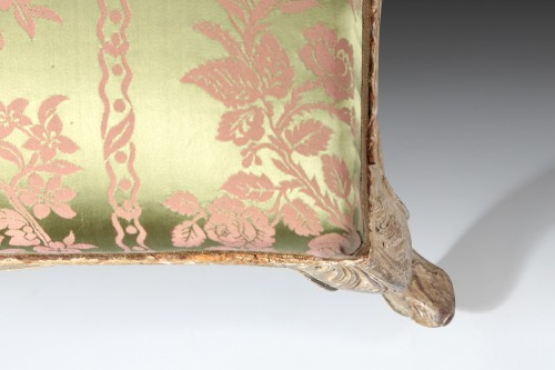 18th century - French Louis XV gray lacquered stool