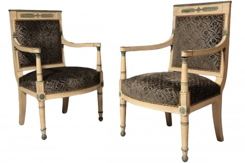Pair of ivory painted fauteuils, France Directoire period