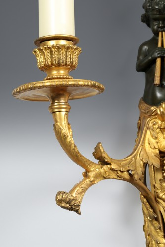 Pair of bronze wall sconces -