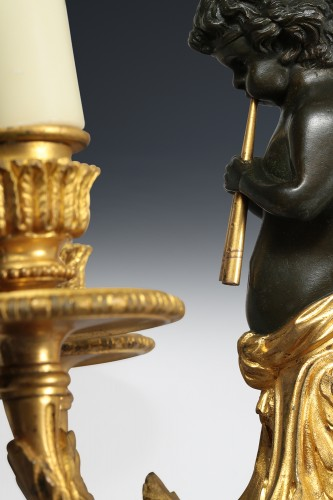19th century - Pair of bronze wall sconces