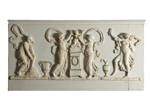 Wooden bas-relief, Love disarmed by the nymphs