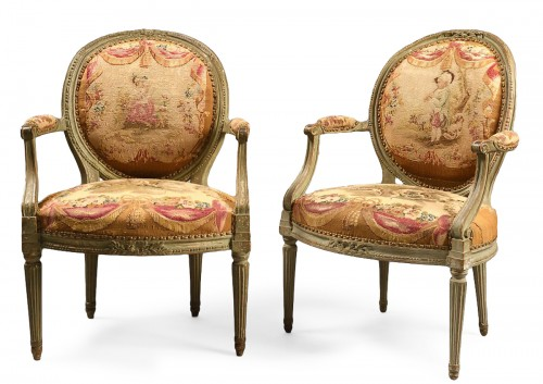 Pair of Medallion armchairs stamped Tibier