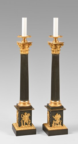 Pair of bronze lamps, mid 19th century - Lighting Style Restauration - Charles X