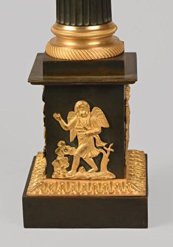 Pair of bronze lamps, mid 19th century -