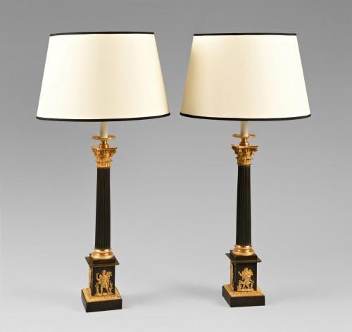 19th century - Pair of bronze lamps, mid 19th century