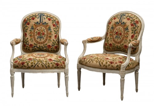 Pair of White Lacquered Fauteuils