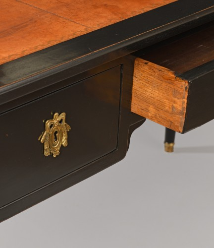 Furniture  - A 19th century Black lacquered oak bureau plat