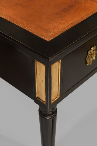 A 19th century Black lacquered oak bureau plat -
