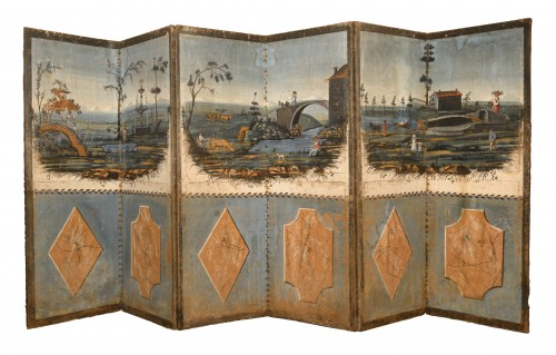 Folding screen in painted canvas