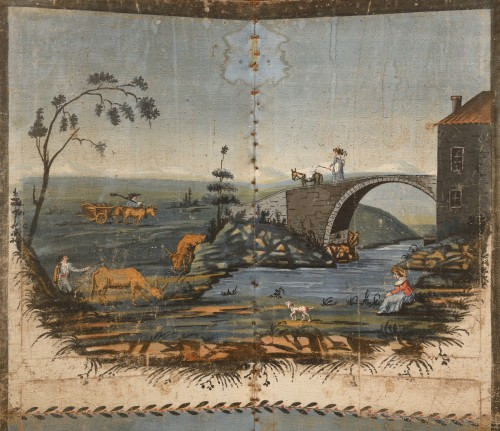 18th century - Folding screen in painted canvas