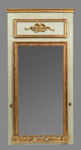 Green and Parcel Gilt Lacquered Pier Glass Mirror -