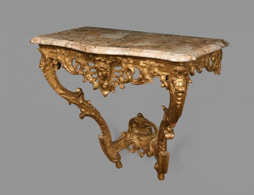 French Louis XVI Giltwood console table -