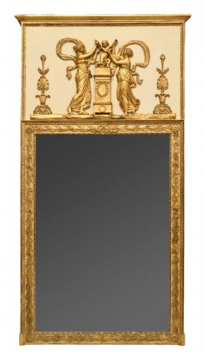 Directoire trumeau in lacquered and gilded wood