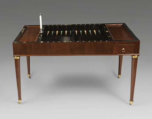 Tric trac table stamped by Jean-Antoine BRUNS - Furniture Style Restauration - Charles X