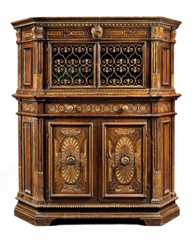 A very fine and rare Tuscan Renaissance parcel-gilt and walnut credenza