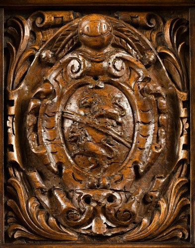 Fontainebleau Renaissance cabinet bearing the Dodieu's family coat-of-arms - Furniture Style Renaissance